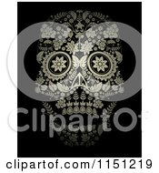 Golden Ornate Floral Day Of The Dead Skull On Black