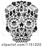 Clipart Of A Black And White Ornate Floral Day Of The Dead Skull Royalty Free Vector Clipart by lineartestpilot