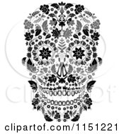 Clipart Of A Black And White Ornate Floral Day Of The Dead Skull Royalty Free Vector Clipart by lineartestpilot #COLLC1151221-0180
