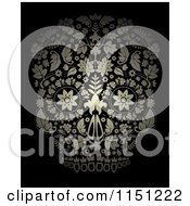 Clipart Of A Golden Ornate Floral Day Of The Dead Skull On Black Royalty Free Vector Clipart by lineartestpilot
