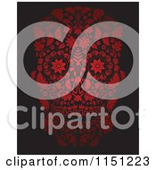 Clipart Of A Red Ornate Floral Day Of The Dead Skull Royalty Free Vector Clipart by lineartestpilot