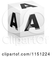 Clipart Of A 3d Black And White Letter A Cube Box Royalty Free Vector Clipart by Andrei Marincas