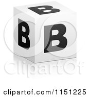 Clipart Of A 3d Black And White Letter B Cube Box Royalty Free Vector Clipart