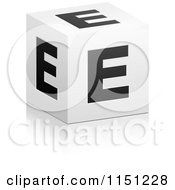 Clipart Of A 3d Black And White Letter E Cube Box Royalty Free Vector Clipart