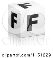 Clipart Of A 3d Black And White Letter F Cube Box Royalty Free Vector Clipart