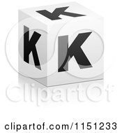 Clipart Of A 3d Black And White Letter K Cube Box Royalty Free Vector Clipart