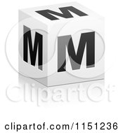 Clipart Of A 3d Black And White Letter M Cube Box Royalty Free Vector Clipart