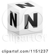 Clipart Of A 3d Black And White Letter N Cube Box Royalty Free Vector Clipart