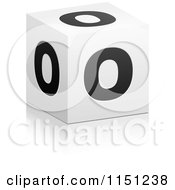 Clipart Of A 3d Black And White Letter O Cube Box Royalty Free Vector Clipart