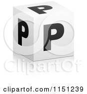 Clipart Of A 3d Black And White Letter P Cube Box Royalty Free Vector Clipart