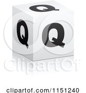 Clipart Of A 3d Black And White Letter Q Cube Box Royalty Free Vector Clipart