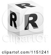 Clipart Of A 3d Black And White Letter R Cube Box Royalty Free Vector Clipart