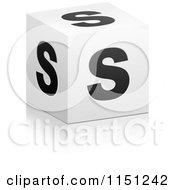 Clipart Of A 3d Black And White Letter S Cube Box Royalty Free Vector Clipart