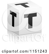 Clipart Of A 3d Black And White Letter T Cube Box Royalty Free Vector Clipart