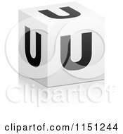 Clipart Of A 3d Black And White Letter U Cube Box Royalty Free Vector Clipart