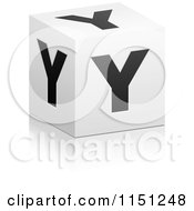Clipart Of A 3d Black And White Letter Y Cube Box Royalty Free Vector Clipart