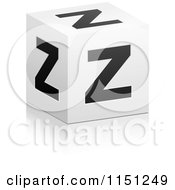 Clipart Of A 3d Black And White Letter Z Cube Box Royalty Free Vector Clipart