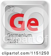 Clipart Of A 3d Red And Silver Germanium Chemical Element Keyboard Button Royalty Free Vector Clipart by Andrei Marincas