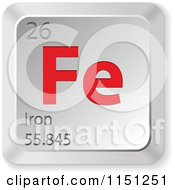Clipart Of A 3d Red And Silver Iron Chemical Element Keyboard Button Royalty Free Vector Clipart