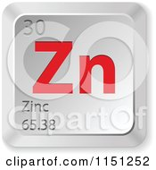 Clipart Of A 3d Red And Silver Zinc Chemical Element Keyboard Button Royalty Free Vector Clipart