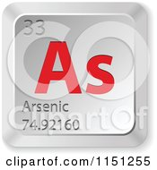 Clipart Of A 3d Red And Silver Arsenic Chemical Element Keyboard Button Royalty Free Vector Clipart