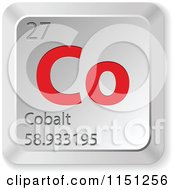 Clipart Of A 3d Red And Silver Cobalt Chemical Element Keyboard Button Royalty Free Vector Clipart