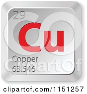 Clipart Of A 3d Red And Silver Copper Chemical Element Keyboard Button Royalty Free Vector Clipart