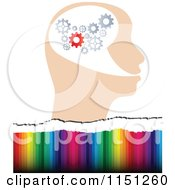 Clipart Of A Gear Head Over Colors Royalty Free Vector Clipart by Andrei Marincas