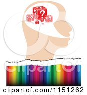 Clipart Of A Question Head Over Colors Royalty Free Vector Clipart by Andrei Marincas