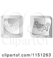 Clipart Of 3d Silver Gear Computer Keyboard Buttons Royalty Free Vector Clipart