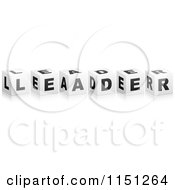 Clipart Of 3d Black And White Letter Cubes Spelling LEADER Royalty Free Vector Clipart by Andrei Marincas
