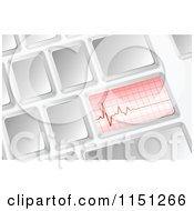 Clipart Of A 3d Computer Keyboard With A Heartbeat Graph Royalty Free Vector Clipart