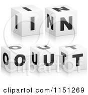Clipart Of 3d Black And White Letter Cubes Spelling In OUT Royalty Free Vector Clipart