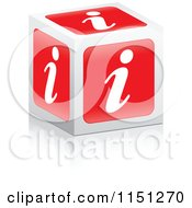 Clipart Of A 3d Red I Information Cube Royalty Free Vector Clipart by Andrei Marincas