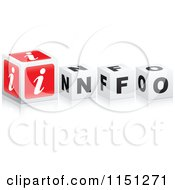 Clipart Of A 3d Red And Black And White Cubes Spelling INFO Royalty Free Vector Clipart by Andrei Marincas