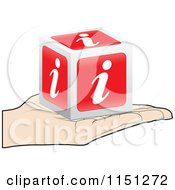 Clipart Of A Hand Holding A 3d Red I Information Cube Royalty Free Vector Clipart by Andrei Marincas