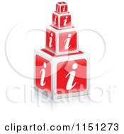 Clipart Of Stacked 3d Red I Information Cubes Royalty Free Vector Clipart by Andrei Marincas