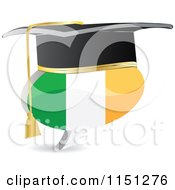 Clipart Of A 3d Graduation Irish Flag Chat Balloon Royalty Free Vector Clipart by Andrei Marincas