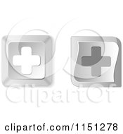 Clipart Of 3d Silver Cross Computer Keyboard Buttons Royalty Free Vector Clipart by Andrei Marincas