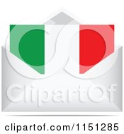 Clipart Of An Italian Flag Letter In An Envelope Royalty Free Vector Clipart by Andrei Marincas