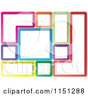 Clipart Of A Background Of Colorful Geometric Frames Royalty Free Vector Clipart
