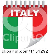 Clipart Of An Italian Flag Calendar Royalty Free Vector Clipart by Andrei Marincas