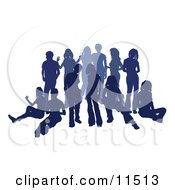 Blue Group Of Silhouetted People Hanging Out In A Crowd Clipart Illustration