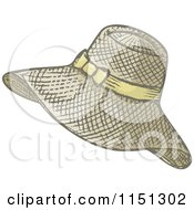 Cartoon Of A Ladies Summer Hat Royalty Free Vector Clipart