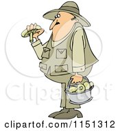 Cartoon Of A Man Gathering Mushrooms Royalty Free Vector Clipart