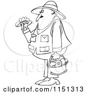 Cartoon Of An Outlined Man Gathering Mushrooms Royalty Free Vector Clipart