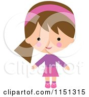 Cartoon Of A Happy Brunette Girl Dressed In Pink And Purple 2 Royalty Free Illustration