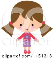 Cartoon Of A Happy Brunette Girl Dressed In Pink And Purple 3 Royalty Free Illustration