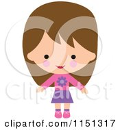 Cartoon Of A Happy Brunette Girl Dressed In Pink And Purple Royalty Free Illustration