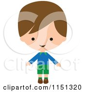 Cartoon Of A Happy Brunette Boy 2 Royalty Free Vector Illustration